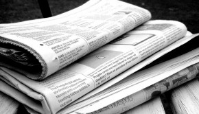 Newspaper in black and white